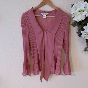 Allison Taylor Pink Pleated Blouse
